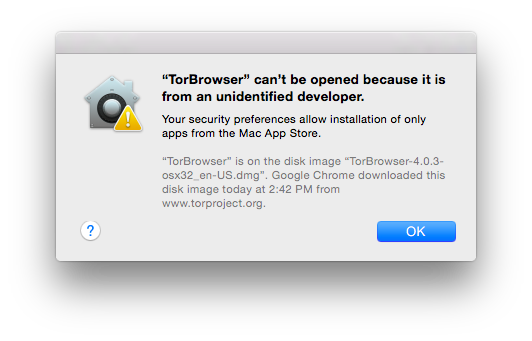 TorBrowser can't be opened because it is from an unidentified developer.